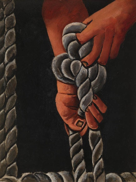 Marsden Hartley, <em>Knotting Rope</em>, 1939 &#8211; 40. Oil on board. 28 &#215; 22 inches. Private collection, New York.