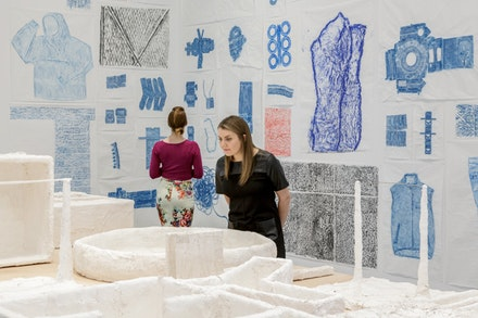 Installation view: <em>New Rubbing and Psychological Tests</em>, 2017. Rubbings (encaustic wax, graphite, and oil on paper), Psychological Tests (plaster and mixed media), and <em>Psychological Tests </em>(four-channel video projection). © Jennifer Bornstein. Photo: John Kennard. Courtesy the artist and Gavin Brown's enterprise, New York/Rome.