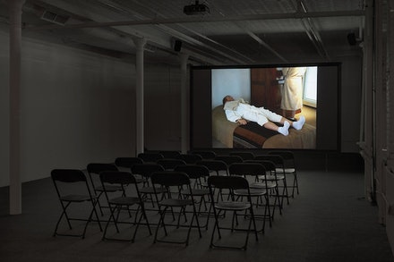 Installation view: Jos de Gruyter and Harald Thys, <em>Xanax Film Festival</em>, Gavin Brown's enterprise, New York, February 25 – April 30, 2017. Courtesy Gavin Brown's enterprise.