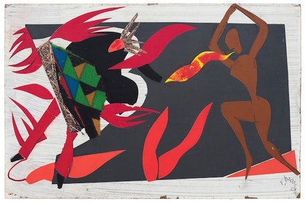 Romare Bearden, <em>The Conjur Woman</em>, 1979. Collage and acrylic on fiberboard. 6 x 9 inches. Courtesy DC Moore.