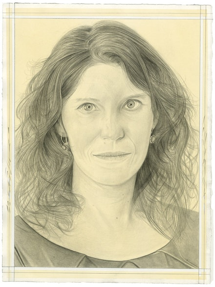 Portrait of Heather Ewing. Pencil on paper by Phong Bui. From a photo by Adèle Schelling.