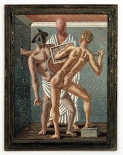 Giorgio de Chirico, <em>Gladiateurs</em> (<em>Gladiators</em>), 1928. Oil on canvas, 51.2 &#215; 38.2 inches. Nahmad Collection, Monaco. &#169; 2016 Artists Rights Society (ARS), New York / SIAE, Rome. Photo: Adam Reich.