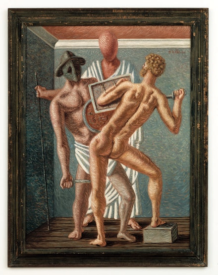 Giorgio de Chirico, <em>Gladiateurs</em> (<em>Gladiators</em>), 1928. Oil on canvas, 51.2 × 38.2 inches. Nahmad Collection, Monaco. © 2016 Artists Rights Society (ARS), New York / SIAE, Rome. Photo: Adam Reich.