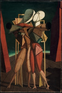 Giorgio de Chirico, <em>Ettore e Andromaca </em>(Hector and Andromache), 1917. Oil on canvas. 35.4 × 23.6 inches. Private Collection. © 2016 Artists Rights Society (ARS), New York / SIAE, Rome.