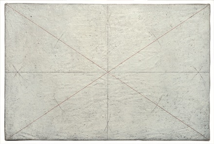 Giulio Paolini, <em>Disegno geometrico</em> [Geometric Drawing], 1960, Tempera and ink on canvas. 15.7 × 23.6 inches. Fondazione Giulio e Anna Paolini, Turin. © Giulio Paolini. Courtesy Fondazione Giulio e Anna. Photo: Mario Sarotto.