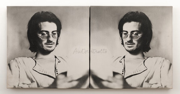 Giulio Paolini, <em>Autoritratto </em>(Self-Portrait), 1970. Photo emulsion on canvas. 15.7 × 31.5 inches. Private collection. © Giulio Paolini. Photo: Adam Reich.
