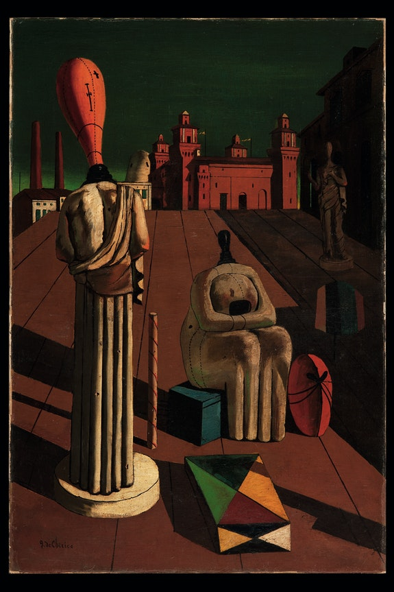 Giorgio de Chirico, <em>Le muse inquietanti</em> (The Disquieting Muses), 1918. Oil on canvas. 38.6 × 12.2 inches. Private Collection. © 2016 Artists Rights Society (ARS), New York / SIAE, Rome.