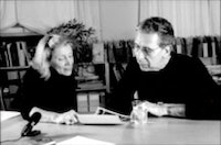 Dorothea Rockburne (left) and Klaus Kertess (right) Photograph by Bill Bartman and Art Resource Transfer.