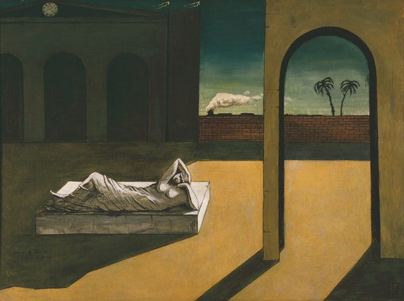 Giorgio de Chirico, <em>La ricompensa dell'indovino</em> (The Soothsayer's Recompense), 1913. Oil on canvas, 53.4 × 70.9 inches. Philadelphia Museum of Art: The Louise and Walter Arensberg Collection, 1950. © 2016 Artists Rights Society (ARS), New York / SIAE, Rome. Courtesy of the Philadelphia Museum of Art.