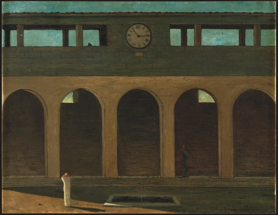 Giorgio de Chirico, <em>L&rsquo;&#233;nigme de l&rsquo;heure </em>[The Enigma of the Hour], 1910/11. Oil on canvas. 21.7 &#215; 28 inches. Private Collection. &#169; 2016 Artists Rights Society (ARS), New York / SIAE, Rome.
