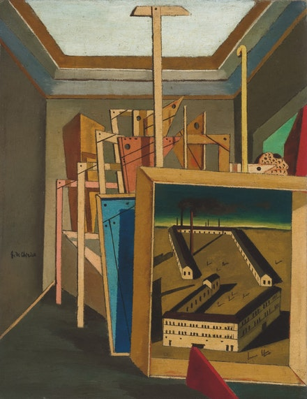 Giorgio de Chirico,<em> Interno metafisico (con piccolo officina) </em>[Metaphysical Interior (with Small Factory)], 1917. Oil on canvas, 18.1 &#215; 14.2 inches. Private Collection. &#169; 2016 Artists Rights Society (ARS), New York / SIAE, Rome.