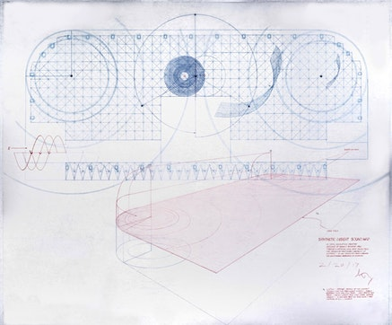 <p>Doug Wheeler, <em>Synthetic Desert Sound Map</em>, 2017. Ink and colored pencil on drafting film. 33 x 28 inches. Working drawing for Mapping Sound Program in <em>PSAD Synthetic Desert III</em>, 1968. &copy; Doug Wheeler. Courtesy Solomon R. Guggenheim Museum.</p>