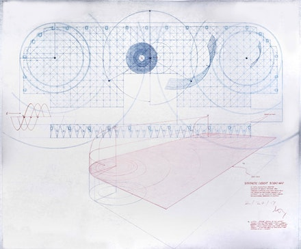 <p>Doug Wheeler, <em>Synthetic Desert Sound Map</em>, 2017. Ink and colored pencil on drafting film. 33 x 28 inches. Working drawing for Mapping Sound Program in <em>PSAD Synthetic Desert III</em>, 1968. © Doug Wheeler. Courtesy Solomon R. Guggenheim Museum.</p>