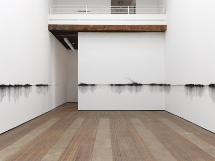 Installation view: Teresita Fernández, <em>Charred Landscape (America)</em>, 2017, Lehmann Maupin, New York, March 17 – May 20, 2017. Photo: Elisabeth Bernstein. Courtesy the artist and Lehmann Maupin.