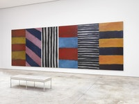 Sean Scully, <em>BLUE NOTE,</em> 2016. Oil and acrylic spray on aluminum. 110 x 320 inches. © Sean Scully. Courtesy Cheim and Read.