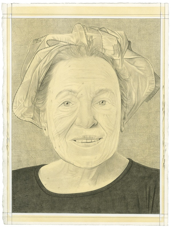 Portrait of Helène Aylon. Pencil on paper by Phong Bui.
