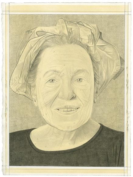 Portrait of Helène Aylon. Pencil on paper by Phong Bui.