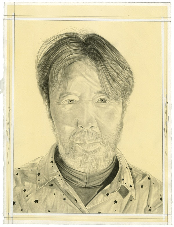 Portrait of Yuji Agematsu. Pencil on paper by Phong Bui.