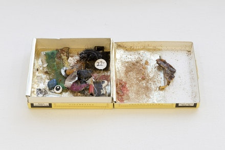 Yuji Agematsu, <em>untitled</em>, 2006. Gold foil and mixed media in cigarette box. 3 1/8 x 6 3/4 x 1/2 inches. Photo: Stephen Faught.
