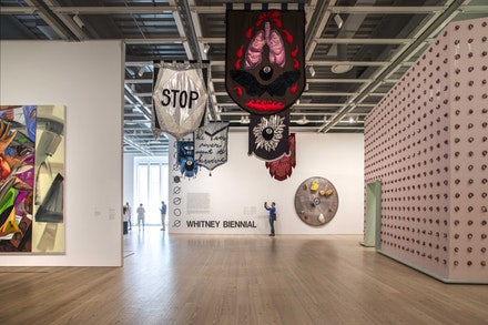 Installation view: 2017 Whitney Biennial, March 17 – June 11, 2017. Cauleen Smith, <em>In the Wake</em>, 2017. Mixed media. 16 components, each 60 × 48 inches. Collection of the artist. Courtesy Corbett vs Dempsey, Chicago and Kate Werble Gallery, New York.