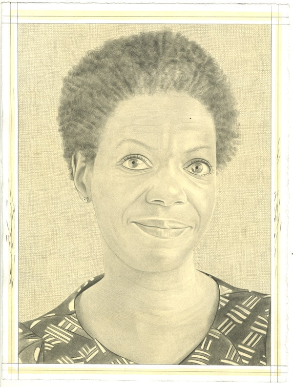 Portrait of Thelma Golden. Pencil on paper by Phong Bui.