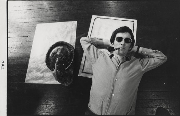 Barry Flanagan with <em>Ho</em>, 1966. Photograph John Goldblatt used for the invitation card for <em>Barry Flanagan Sculpture</em>, Rowan Gallery, London, August 5 - September 1, 1996.