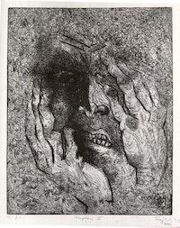Gabor Peterdi, <em>Despair III</em>, 1938. Etching and engraving on paper. 12 7/16 x 9 13/16 inches. Brooklyn Museum, Gift of Martin Segal. Photo: Brooklyn Museum.