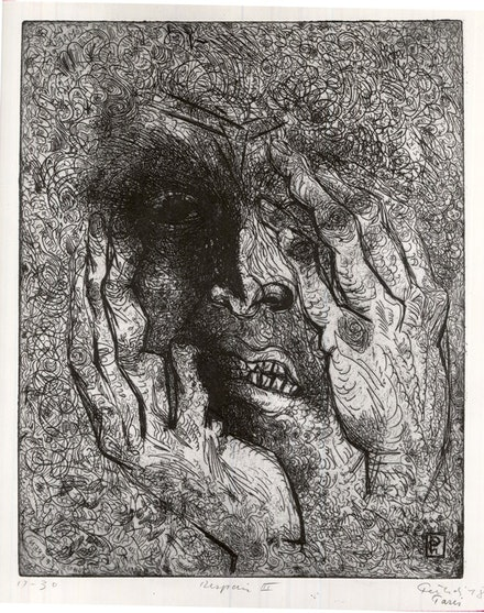 Gabor Peterdi, <em>Despair III</em>, 1938. Etching and engraving on paper. 12 7/16 x 9 13/16 inches. Brooklyn Museum, Gift of Martin Segal. Photo: Brooklyn Museum.