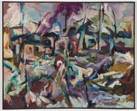 Carolee Schneemann, <em>Mill Forms—Eagle Square</em>, 1958. Oil on canvas. 36 × 44 inches. Courtesy PPOW Gallery, New York.