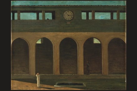 Giorgio de Chirico,<em> L'énigme de l'heure</em> (The Enigma of the Hour), 1910/11. Oil on canvas, 21 1/2 x 28 inches. Private Collection. © 2016 Artists Rights Society (ARS), New York / SIAE, Rome.