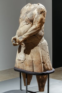 <em>Strongman</em>, Qin Dynasty (221 - 206 B.C). Earthenware sculpture. 61 3/4 x 29 1/2 inches. Courtesy Metropolitan Museum of Art.