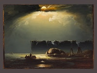 Peder Balke, <i>The North Cape</i>, 1853. Oil on paper, laid down on board. 14 13/16 x 19 7/8 inches. Collection of Mickey Cartin, courtesy Daxer & Marschall, Munich.