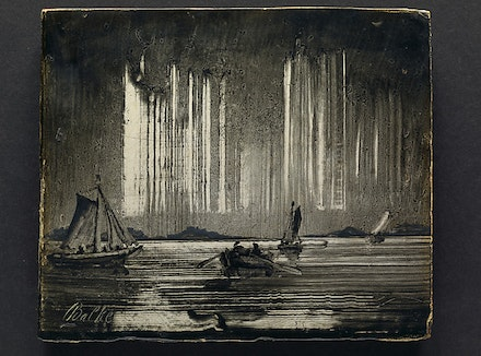 Peder Balke, <i>Northern Lights</i>, 1870s. Oil on wood. 3 15/16 x 4 3/4 inches. The Hearn Family Trust.