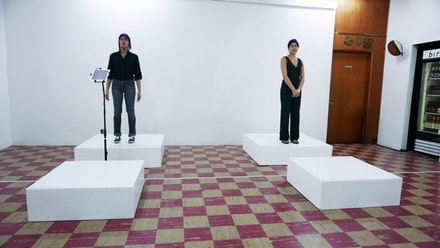 Emma Sulkowicz, <em>Self-Portrait (Performance With Object), </em>2016. Durational performance. Coagula Curatorial, Los Angeles, CA. February 27 - April 3, 2016. Photo: Eric Minh Swenson.