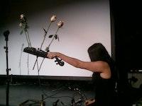MV Carbon performing at the Tony Conrad memorial, April 8, Clemente Soto Velez. Photo: Daniel Conrad.