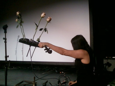MV Carbon performing at the Tony Conrad memorial, April 8, Clemente Soto Velez. Photo: Daniel Conrad.