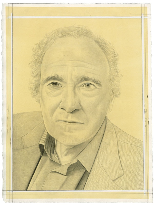 Portrait of Donald Kuspit. Pencil on paper by Phong Bui. From a photo by Chris Felver.