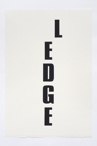 Kay Rosen, <em>Ledge</em>, 2015. Acrylic gouache on paper. 22 1⁄2 × 15 inches. Courtesy the Aldrich Contemporary Art Museum and the artist.