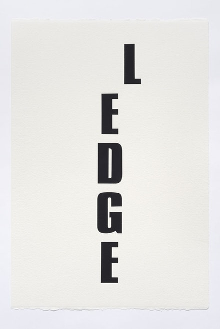 Kay Rosen, <em>Ledge</em>, 2015. Acrylic gouache on paper. 22 1&#8260;2 &#215; 15 inches. Courtesy the Aldrich Contemporary Art Museum and the artist.