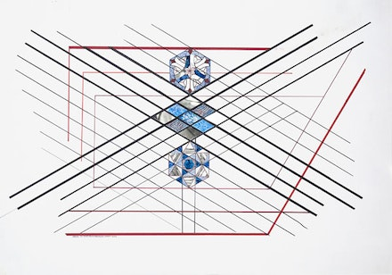 Monir Shahroudy Farmanfarmaian, <em>Untitled</em>, 2012. Felt marker, colored pencil, and mirror on paper. 27 1/2 x 39 1/3 inches. Private Collection, California. Courtesy the artist and the Third Line. Photo: Charles Benton.