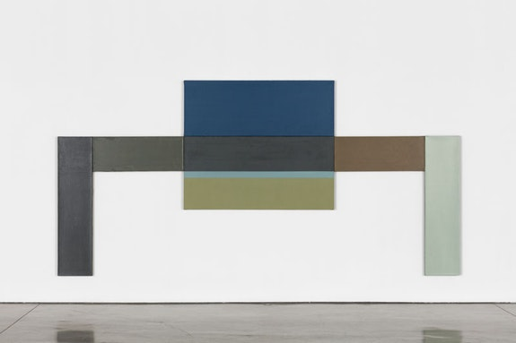 "David Novros, <em>Untitled (Frog Altar)</em>, 1976. Oil on linen. 1 panel @ 31 1/2 × 64 1/2 × 2 inches; 1 panel @ 23 7/8 × 64 1/2 × 2 inches; 2 panels @ 15 × 39 1/2 × 2 inches; 2 panels @ 60 x 15 x 2 inches. Overall: 84 × 168 × 2 inches. Signed and dated on verso of some panels: ""D.N. 76"" DN-7-PTG. © 2017 David Novros / Artists Rights Society (ARS), New York. Courtesy Paula Cooper Gallery, New York."