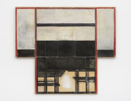 David Novros, <em>Untitled</em>, 1973 - 75. Pastel, oil and drawing-pins on paper, mounted on Shoji-panel, hinged wings, 42 1/2 × 48 inches. © 2017 David Novros / Artists Rights Society (ARS), New York. Courtesy Paula Cooper Gallery, New York.