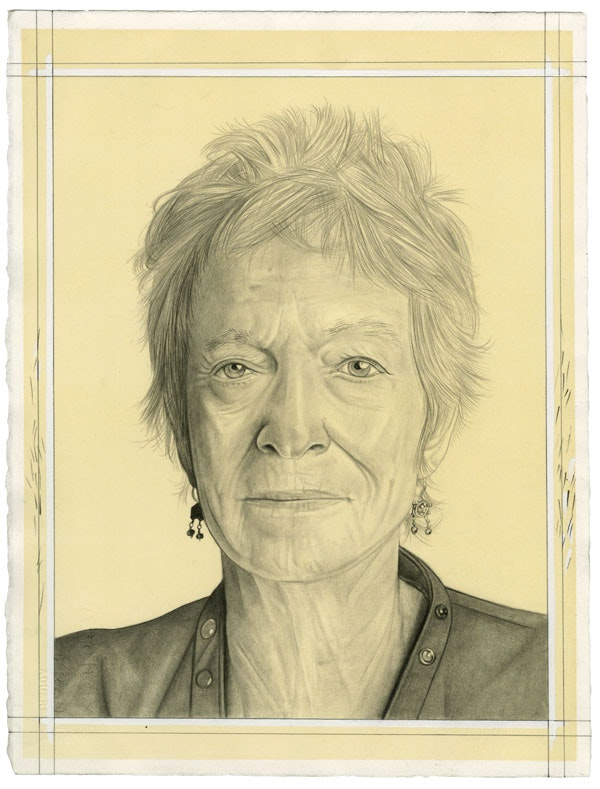 Portrait of Joan Jonas. Pencil on paper by Phong Bui.