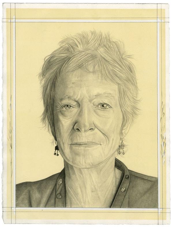 Portrait of Joan Jonas. Pencil on paper by Phong Bui.