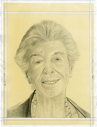 Portrait of Joan Davidson. Pencil on paper by Phong Bui.