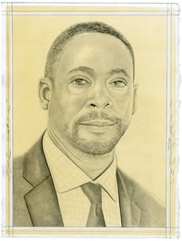 Portrait of Franklin Sirmans. Pencil on paper by Phong Bui.