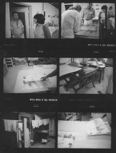 Detail from Contact Sheet: Susan Weil working at Untitled Press with Robert Rauschenberg, Robert Petersen, Bernard Kirschenbaum, and Peter Wirth, 1974. Robert Rauschenberg papers. Robert Rauschenberg Foundation Archives, New York. Photo: Christopher Rauschenberg.