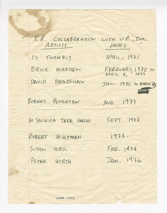 Robert Rauschenberg's handwritten list of artists collaborating with Untitled Press, Inc., circa 1976. Robert Rauschenberg papers. Robert Rauschenberg Foundation Archives, New York.