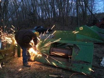Disassembly of combine for Continuous Service Altered Daily. Courtesy of the artist.