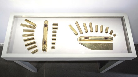 Intellectual Development (Ornamental Resources). Brass plated cylinder sleeves, corn head locking bars, and shield plate. Photo Cathy Carver.